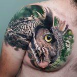 Tatouage réaliste d'épaule et de poitrine de hibou